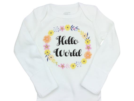 Hello World Newborn Coming Home Set Coming Home Outfit Bodysuit Infant Outfit Wildflower Baby Leggings Top Knot Hat Knot Headband Bow Floral