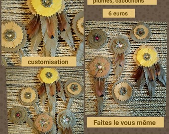 6 flowers leather two-tone notched feathers cabochons