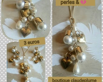 3 small beads & heart charms