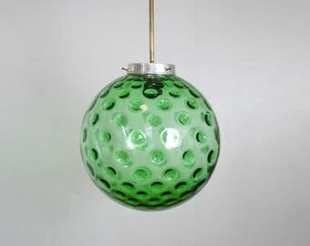 GREEN GLASS GLOBE Light // Rare Large Dot Glass Pendant Lamp // Brass Fixture // Vintage Ambient Ceiling lIght