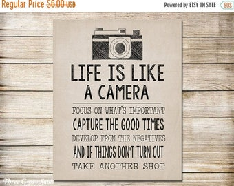 SALE PRINTABLE Camera Art Life Is Like A Camera Wall Art Camera Wall Decor Vintage Camera Art Beige Wall Decor