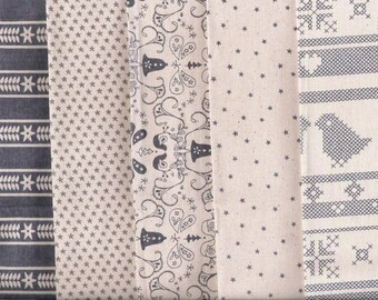 5 grands coupons tissus patchwork Scandinaves -  blancs /gris foncés- REF.C-Assortiment, lot de coupons coton