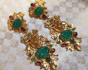 Chandelier Askew London Earrings Stags Jade Glass