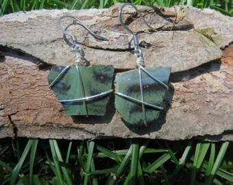 Jade green pottery shard dangle earrings