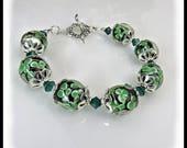 Shamrock green lampwork glass bracelet, emerald crystal bracelet, green jewelry, st patricks day jewelry, shamrock jewelry, handmade