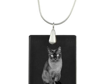 Tonkinese, cat Crystal Pendant, SIlver Necklace 925, High Quality, Exceptional Gift, Collection!