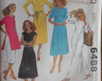 McCall's 6488.  McCalls 6488.  Misses dress, tunic and pants pattern.  Vintage 1979 fashion pattern.  Stretch knits only pattern. Size 12.