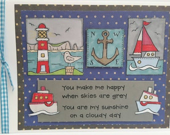 Handmade Greeting card for any occasion. Sailing, Seaside themed boats and lighthouses