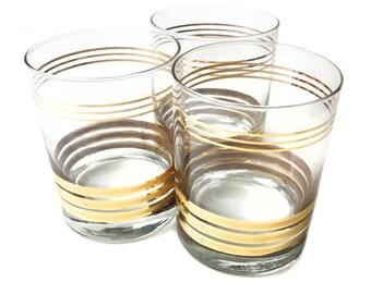 Vintage midcentury set of 3 gold leaf striped old fashion glasses