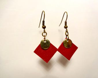 Square red leather and gold disc earrings