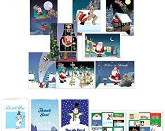 Funny Christmas Card Variety Pack 24 Cards & 25 Envelopes, 4 Notepads, 20 Thank You Note Cards and 36 Gift Stickers - 912