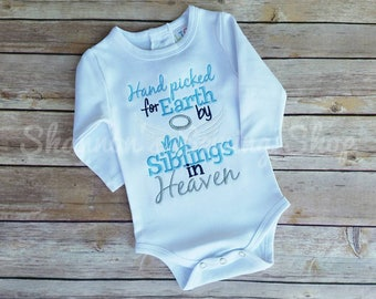 Hand Picked for Earth Shirt - Hand Picked by My Siblings in Heaven - Baby Shower Gift - Rainbow Baby Gift