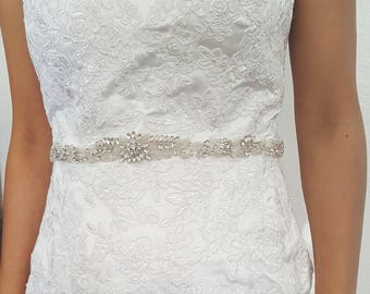 Beaded Bridal Belt, Beaded Sash Belt, Wedding Belt, Thin Bridal Belt, Crystal Wedding Sash - Style 788