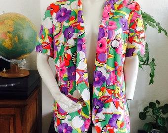 SALE- Rare 70s blazer  70s jacket  plussize vintage  oversized blazer  psychedelic blazer  xl vintage blazer  size 44 DU   floral blazer