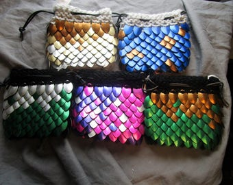 Dragon Scale Dice Bag. Knitted Scale Maille Dice Pouch
