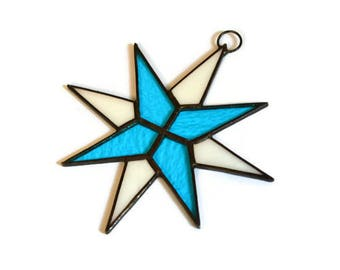 Stained Glass Star Suncatcher, Window Decoration in sky blue and white colors