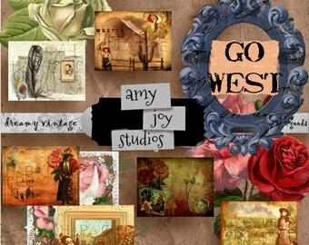 GO WEST Journal  Printable  Travel Journal  Digital Journal Kits  Junk Journal Kit  Junk Journal Vintage  Old West  Wild West Cowboy Western