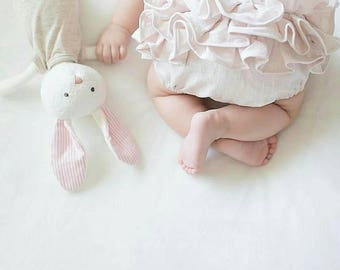 Baby bloomers, Ruffled bloomers, linen bloomers