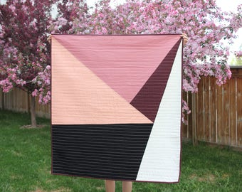 Ready to Ship Maroon and Rose Shades Geometric Quilt / Peach Geometric Quilt / Ombre Abstract Quilt
