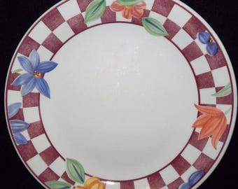 """ON SALE Johnson Brothers HOPSCOTCH Red Lot of 2 Dinner Plates Floral Red & White Checks Dinnerware 10 1/4"""" in diameter"""