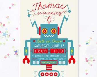 Robot Birthday Invitation, Robot invite, Robot Party, Robot invitation, Robot, Boys Birthday invite, Boys invitation, Boys Printable invite