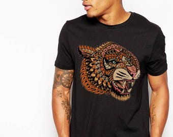 Big Cat, Tiger, Tiger Gift, Tiger Tee, Tiger Top, Big Cat Tshirt, Tiger Tshirt, Tiger art, Animal tshirt, Mens tshirt, Roar, Snarling Tiger