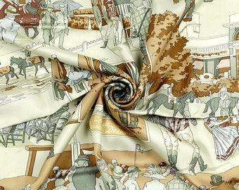 """HERMES SCARF Silk """"Un Siecle de Courses a Deauville"""" by Hubert de Watrigant 90cm Carre 100% Auth"""