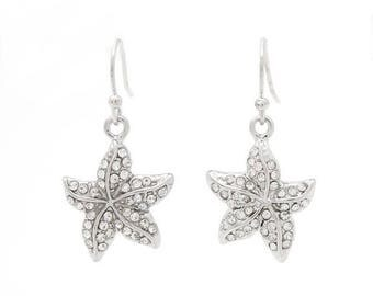 Starfish with Clear Rhinestone Accents Dangle Earrings