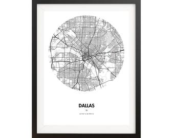 Dallas Map Poster - 18 by 24 inch Map Print - Black and White Texas Map Poster - Gifts for Travelers