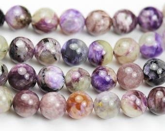 """Charoite, 7mm round Gemstone, One full strand Natural Gemstone,Purple ,16""""-GEM1393"""