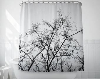 Tree Shower Curtain, Dried Branches, Black And White, Bath Decoration, Bathroom Decor, Nature Art, Tree Branches