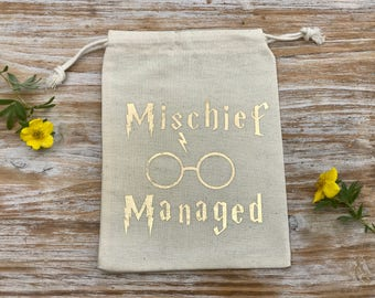 Mischief Managed Cotton Drawstring bags, Harry Potter Birthday, Harry Potter Bachelorette, Harry Potter Themed Party