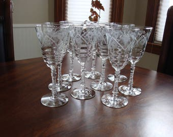 Libbey Rock Sharpe 3005-2 Water (Wine) Goblets (9)!