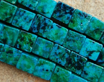 """Natural Chrysocolla 8.5mm Cube Beads, Dyed - 15"""" Strand"""