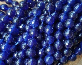 "Natural White Jade Faceted 8mm Round Beads, Dyed Dark Blue  - 15.3"" Strand"