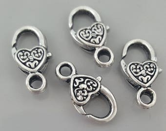 Patterned Lobster Claw Silver Finish Heart Clasp, 17x9x5mm - 5 Pieces
