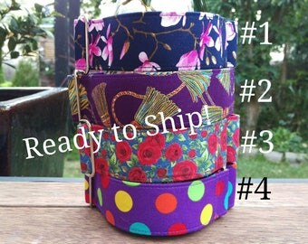 """READY TO SHIP! Martingale Collars - 1.5"""" - Whippet 11-15""""- Magnolia, Tassels, Roses n' Denim, Spots on Purple"""