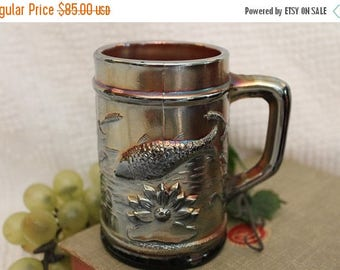"SALE Antique Dugan Glass 4"" Amethyst Carnival Mug - Fish in Pond, Fisherman, Trout with Cattails and Flower"