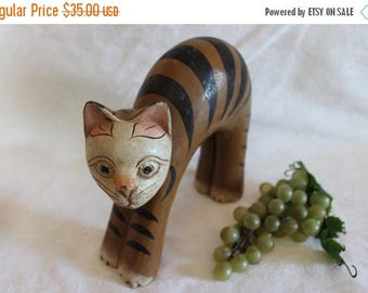 SALE Large Wooden Hand Painted Cat Figurine or Doorstop - Tan with Black Stripes