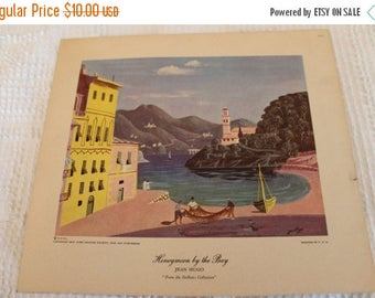 """SALE 1950's Jean Hugo 8.5"""" by 9.5"""" Lithograph of """"Honeymoon by the Bay"""" from the DeBeers Collection"""