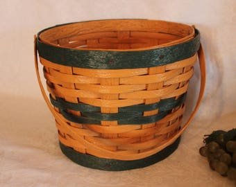 """Krasco Outdoor 11"""" Basket Sleeve - Longaberger Style, Made in Dresden Ohio, Green and Tan"""