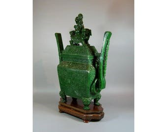 A Massive Very Rare and Exquisitely Crafted Chinese Spinach Jade Incense Burner