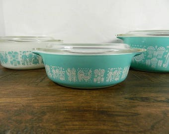 Set of 3 Pyrex Turquoise Butterprint Casserole Dishes with Lids, Some damage, Nesting Set, Vintage Pyrex, Turquoise Pyrex #471, 472, 473