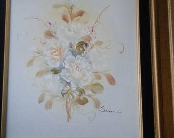 Vintage Floral Still Life On Canvas/ Signed/  Certification