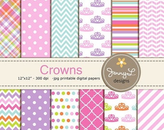 50% OFF Princess Crown Digital Paper, Tiara Girl Party Birthday, Baptism Scrapbooking Paper Party Theme,