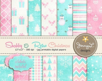 50% OFF Shabby Retro Christmas, Christmas Digital Paper, Vintage Christmas Papers, Textured Holiday Digital Scrapbooking Paper, Pink and Blu