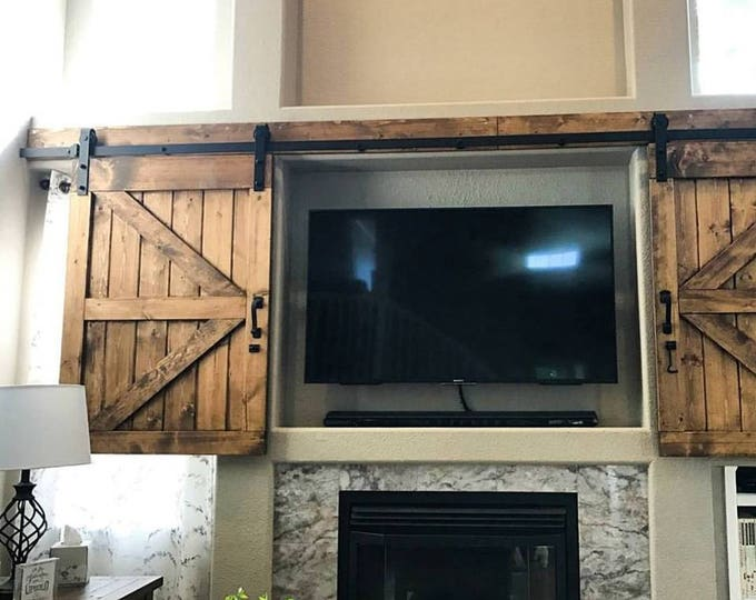 Featured listing image: Hidden Sliding TV Barn Door Set - Rustic TV Barn Door - Sliding Window - Interior - Sliding TV Cover - Barn Door Cabinet - Farmhouse Door