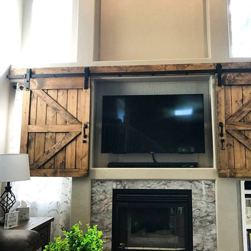hidden sliding tv barn door set rustic tv barn door