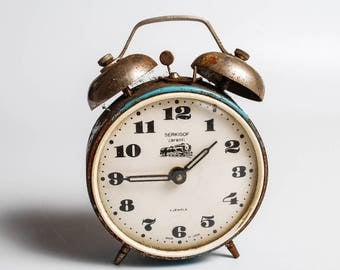 Vintage alarm clock Serkirof (Molnia), metal case, made in USSR,