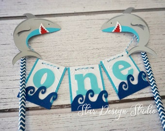 Shark Cake Topper Birthday Bunting cake topper-  Smash cake, first birthday, Any number, name available